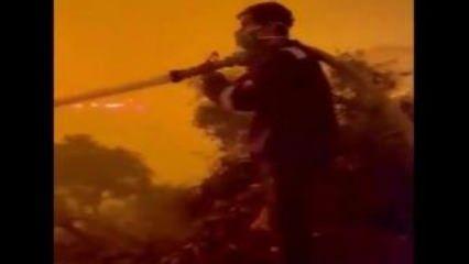 Oyuncu İbrahim Çelikkol Milas'taki yangında alevlerin içine hortumla daldı!