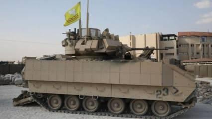 YPG, ABD zırhlısına paçavralarını asıp kent içinde dolaştı