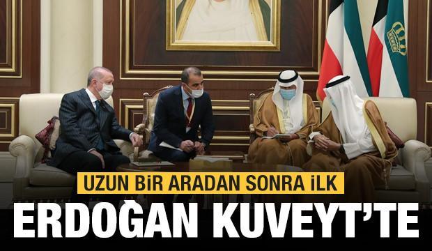 Cumhurbaşkanı Erdoğan Kuveyt'te! Taziyelerini iletti