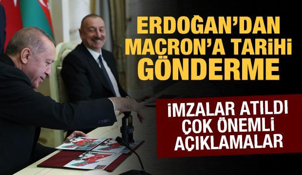 Son dakika haberi! Aliyev ile Erdoğan'dan ortak açıklama: Macron'a tarihi gönderme!