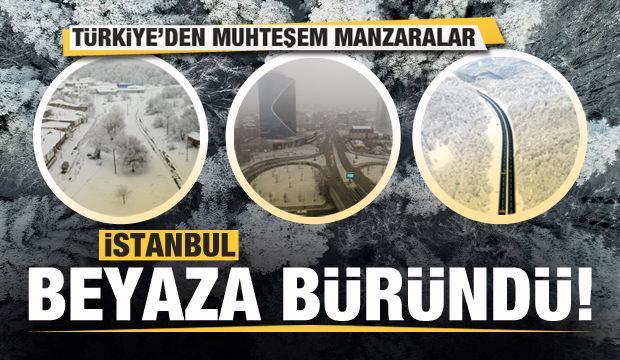 İstanbul beyaza büründü! Türkiye'den muhteşem kar manzaraları