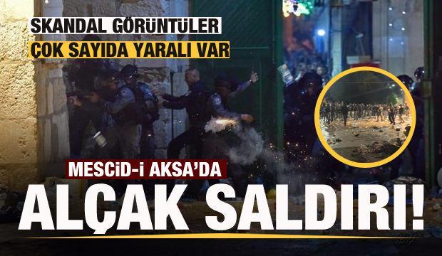 İsrail polisi, Mescid-i Aksa'ya girerek cemaate saldırdı