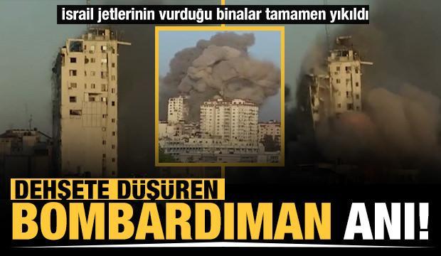 Gazze'de dehşete düşüren bombardıman anı!