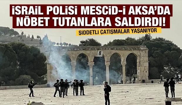 Mescid-i Aksa'da nöbet tutanlara saldırı