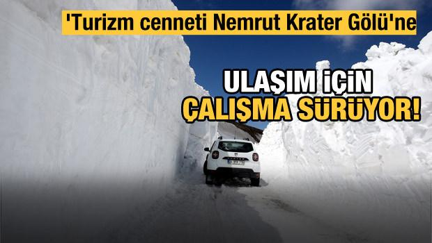 'Turizm cenneti Nemrut Krater Gölü'ne ulaşım için ekiplerin karla mücadelesi sürüyor